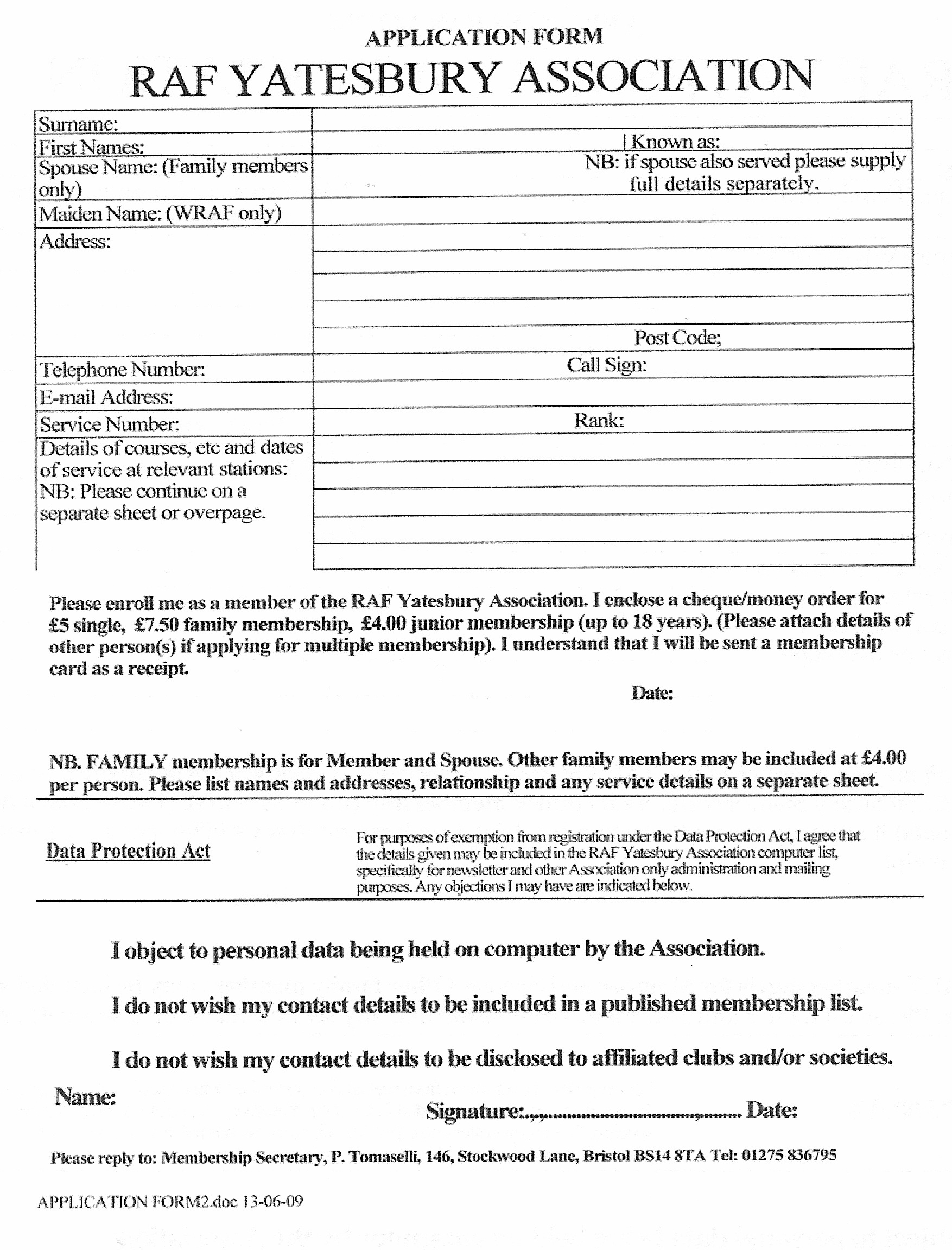 application form raf yatesbury association application form